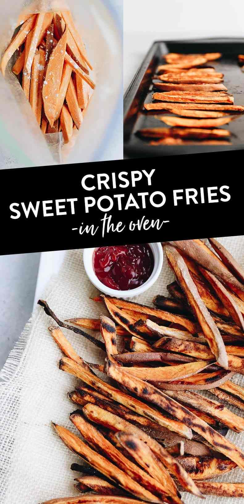 Want to know the trick to the perfect crispy baked sweet potato fries? This recipe teaches you how to make baked sweet potato fries that are crispy on the edges and soft in the middle - the whole family will love this healthy side! #sweetpotatofries #crispysweetpotatofries