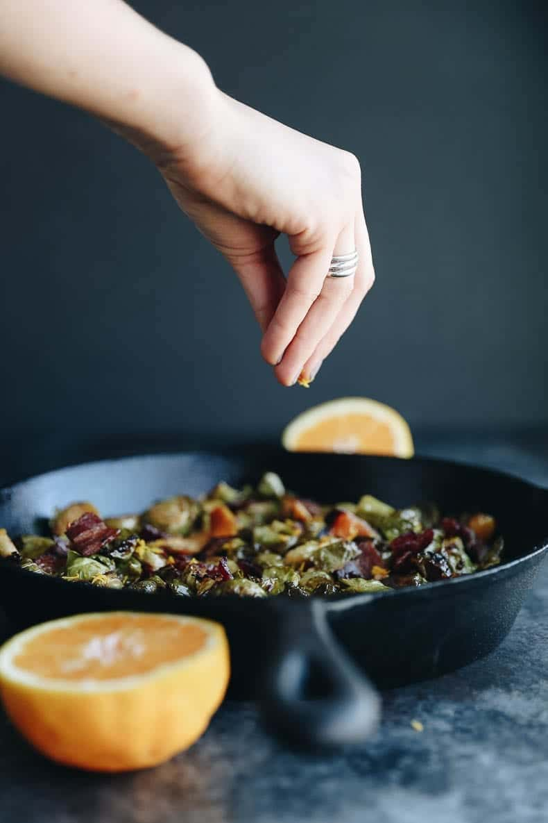Bacon Brussels Sprouts with Maple and Orange that you can easily cook in the oven!