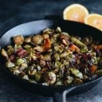 Enjoy these Maple Roasted Brussels Sprouts with Bacon as a holiday side or winter weeknight dish. Packed full of flavor from fresh orange and smoky bacon, these brussels sprouts will not disappoint.