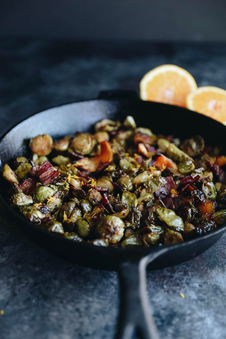 Bacon Brussels Sprouts made in the oven and cooked with maple syrup and orange for the perfect fall flavor medley!